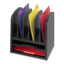 Two Shelf Organizer with Six Slots in Black