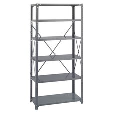 6 Shelf Commercial Steel Shelving in Dark Gray