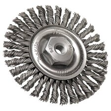 "Full Cable Twist Knot Wire Wheel Brushes - 4""x.020 ss twist wire brush wheel w/m10x1.25"