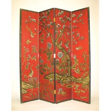 Red Asian Flower Theme Room Divider