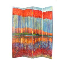Fall in the Forest 4 Panel Distressed Room Divider