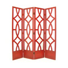 Charleston 4 Panel Room Divider in Distressed China Red