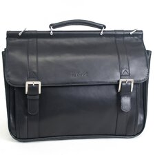 "Manhattan Leather Portfolio ""Rod, White and Blue"" Briefcase in Black"