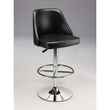 Padded Leatherette Barstool with Gas Lift in Black