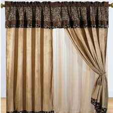 Zebra Micro Fur Rod Pocket Curtain Panel Pair with Tiebacks