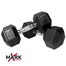 Pair of 30 lb Rubber Hex Dumbbells