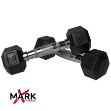Pair of 5 lb. Rubber Hex Dumbbells