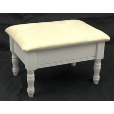 Queen Anne Style Wood Footstool with Storage