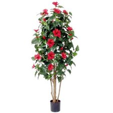 "42"" Artificial Hibiscus Plant with Red Flowers"