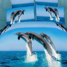 Dolce Mela Atlantic Dolphins 6 Piece Duvet Cover Set