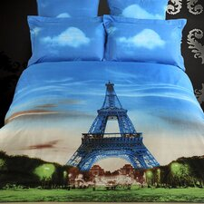 Eiffel Tower Paris Egyptian Cotton 6 Piece Duvet Cover Set