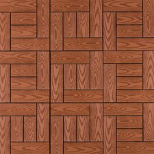 "Composite 12"" x 12"" Interlocking Deck Tiles in Redwood"