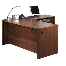 Embassy L-Shaped Workstation Kit Including Assembled Pedestal