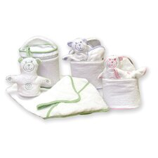 Terry Velour Bath Bag Set with Gingham Seersucker Trim