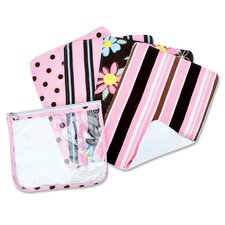 Blossoms Zip Pouch Burp Cloth Set in Pink (Set of 4)