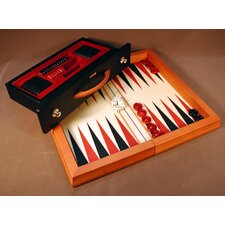 Wood Flat Backgammon Game in Red / Black