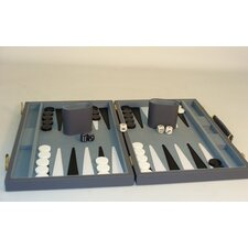 "18"" Grey Vinyl Backgammon Board Game"