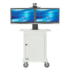"Medical Video Conferencing Stand for Dual 32"" Monitors"