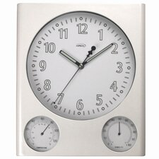 Pearl Wall Clock with Thermometer and Hygrometer