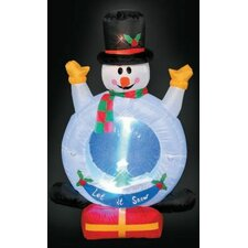 Inflatable Snowman with Snow