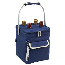 Aegean Four Bottle Carrier in Blue and Cream