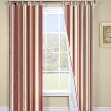 Weathermate Broad Stripe Cotton Tab Top Energy Efficient Drape Panel Pair