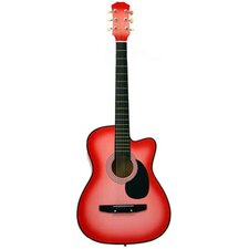 Acoustic Cutaway Guitar with Gig Bag and Accessories in Pink