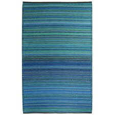 World Cancun Turquoise/Moss Green Stripe Rug