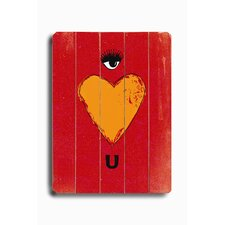 "Eye Heart U Planked Wood Sign - 20"" x 14"""