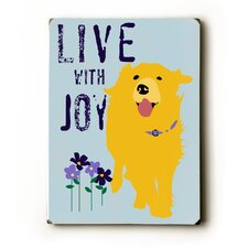 "Love With Joy Wood Sign - 12"" x 9"""