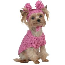 Bobble/Rossette Cable Dog Sweater