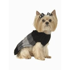 Tri Color Stripe Dog Sweater with Hat in Charcoal