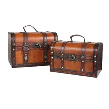 Decorative Leather Treasure Box (Set of 2)