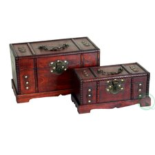 Antique Wooden Trunk, Old Treasure Trunk (Set of 2)