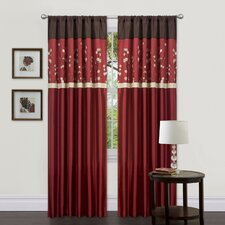 Cocoa Blossom Rod Pocket Curtain Panel Pair