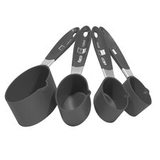 4 Piece Measuring-cup Set with Gray Handle