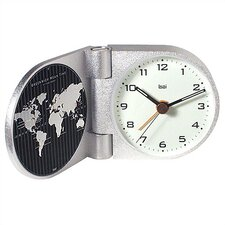 World Trotter Modern Travel Alarm Clock in Gotham White