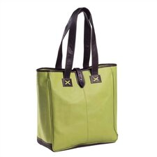 Colored Vachetta Oversized Tote in Green/Café