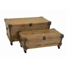 Study Wood and Metal Trunk (Set of 2)