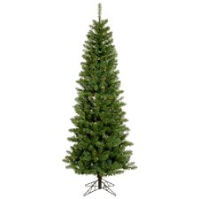 Salem Pencil Pine 6.5' Green Artificial Christmas Tree with 165 Multicolored LED Lights with Stand
