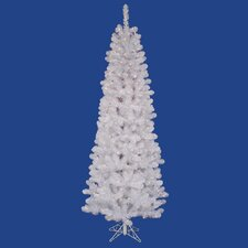 "White Salem Pencil Pine 5' 6"" Artificial Christmas Tree with 135 LED Warm White Lights with Stand"