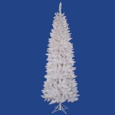 Crystal White Spruce Pencil 7.5' Artificial Christmas Tree with 275 LED Multicolored Lights with Stand