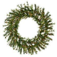 "Mixed Country Pine 60"" Wreath with Clear Lights"