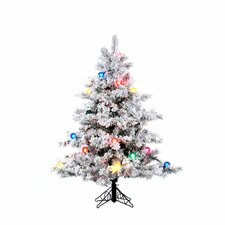 "Flocked Alaskan 4' 6"" White Artificial Christmas Tree with 200 Multicolored Lights with Stand"