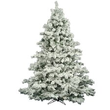 "Flocked Alaskan 6' 6"" White Pine Artificial Christmas Tree with Stand"