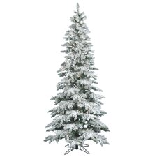 Flocked Utica Fir 6.5' White Artificial Christmas Tree with 300 Clear Lights with Stand