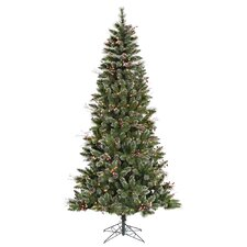 6' Green Snowtip Berry/Vine Artificial Christmas Tree with 250 Clear Mini Lights