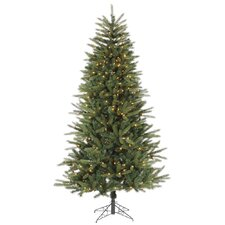 7' Green Bradfo Red Fir Artificial Christmas Tree with 400 Clear Mini Lights with Stand