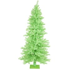 Chartreuse Wide Cut 6' Green Artificial Christmas Tree with 200 Green Mini Lights with Stand