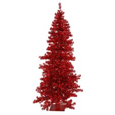 Red Wide Cut 7.5' Red Artificial Christmas Tree with 300 Red Mini Lights with Stand